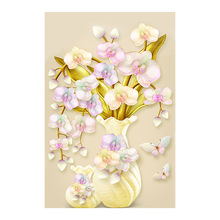 Yellow Orchid Flower Vase Diamond Painting floral Round Full Drill 5D Nouveaute DIY Mosaic Embroidery Cross Stitch home decor