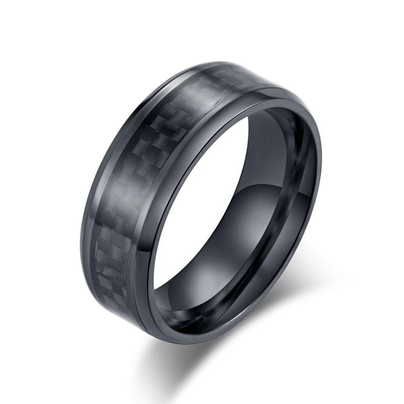 Мужское и женское кольцо из углеродного волокна, Черное и серебряное кольцо из нержавеющей стали, аксессуары для пар