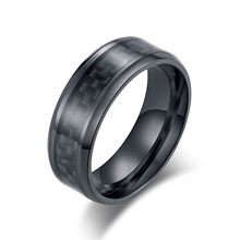 Fashion Stainless Steel Carbon Fiber Ring for Men women Couple Ring Black Silver Color Male Jewelry Accessories(China)