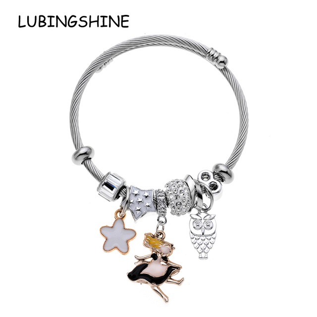 becea7b8b61 LUBINGSHINE Women's Owl Star Charm Bracelet Bangle Stainless Steel Twisted  Expandable Cable Wire Cuff Bracelets Dropship B1438