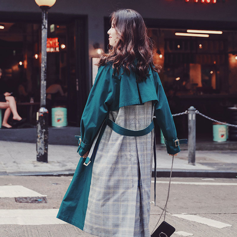 Women's   trench   coat overcoat fashion personality patchwork apricot/green Mosaic Lattice windbreaker female spring   trench   coats X