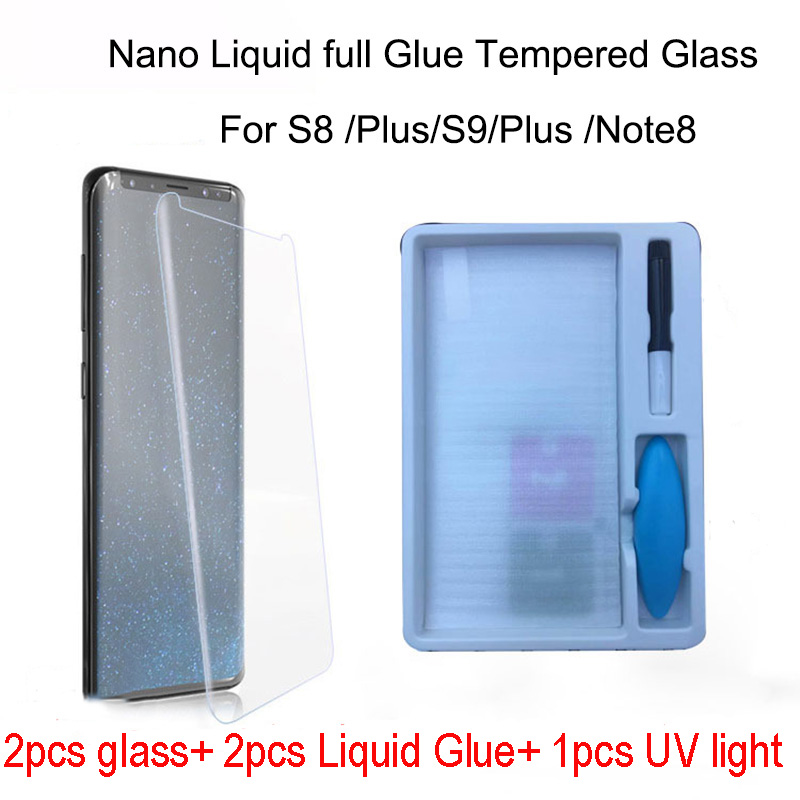 2pcs Nano Liquid full Glue Tempered Glass&1pcs UV Light &2pcs Liquid Glue For Samsung Galaxy Note 8 S8 S9 Screen Protector Cover