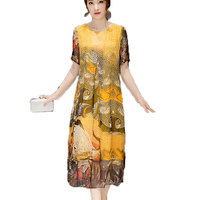 High quality 2017 new women spring and summer short sleeves O Neck loose Plus Size dress Rayon larger long dress AC049