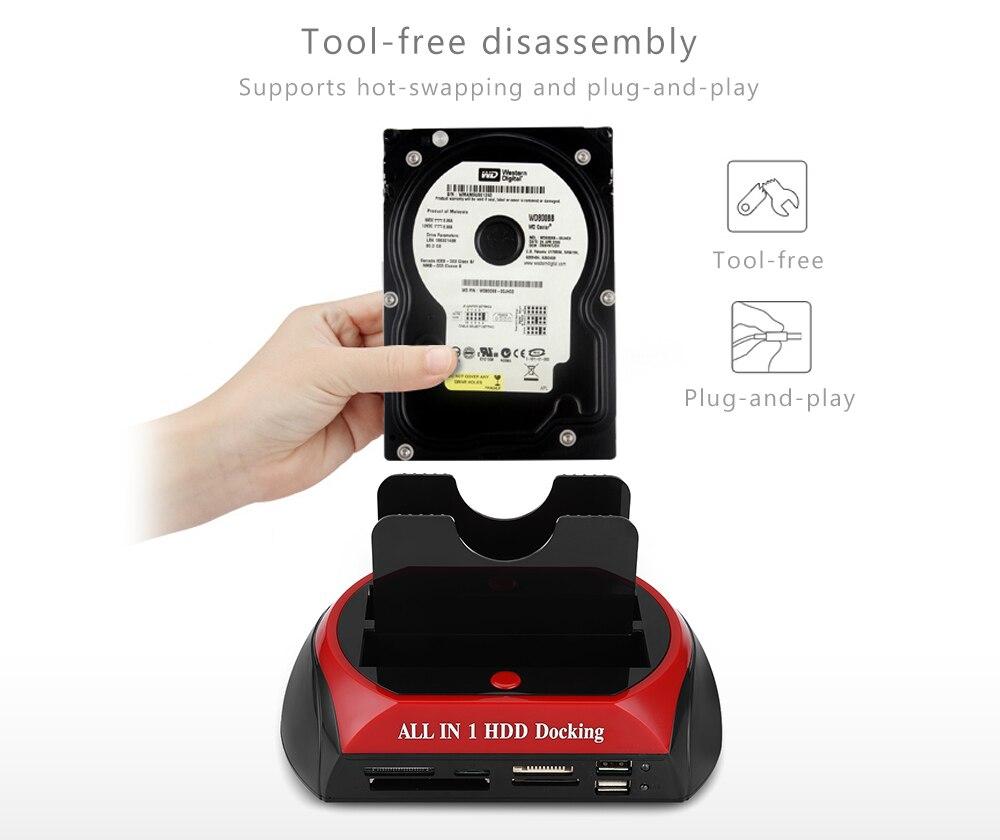 Estación de acoplamiento de la caja del HDD todo en uno con la ranura del lector de La tarjeta Multi para la caja del HDD 3,5 pulgadas 2,5 SATA/IDE Disco Duro OTB OTC