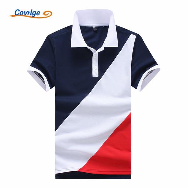 1f94471397 Covrlge 2018 Novos Homens Marca de Moda Camisa Polo Sólida Curto-Luva Slim  Fit Polo