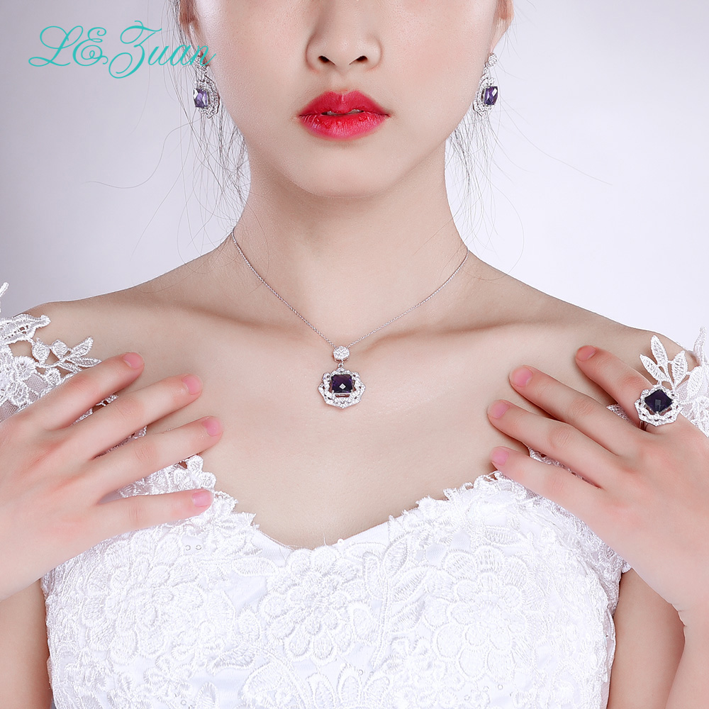 Здесь продается  L&zuan  4.32ct Natural Amethyst  Real 925 Sterling Silver Jewelry Luxury Rings For Women Checkerboard Cut Gems Ring  Ювелирные изделия и часы