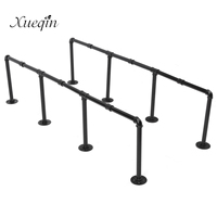 KiWarm Practical Industrial Retro Design Black Iron Pipe Wall Mount Shelf Shelving 145cm Height For Home Bathroom Hardware