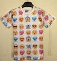 [Элмо] великобритании 2014 новый Женщины/Мужчины одежда мультфильм смешные смайлики 3D печать футболки воротник Футболки женщин панк emoji