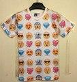 [Elmo] uk 2014 nuevas Mujeres/Hombres ropa de dibujos animados divertidos emoticonos 3D de impresión T camisa de cuello Camiseta femenina punk emoji