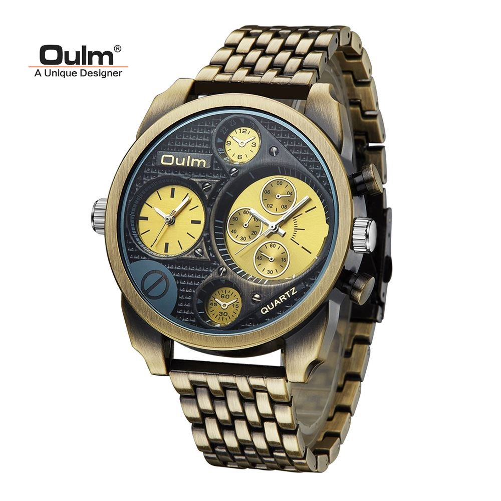 TEAROKE Oulm Luxury Brand Men's Watch Clock Full Steel Watch Golden Big Dial Antique Casual Quartz Watches Military Wristwatches oulm men dual movt big dial japan luxury military watches men stainless steel strap wristwatches male golden clock