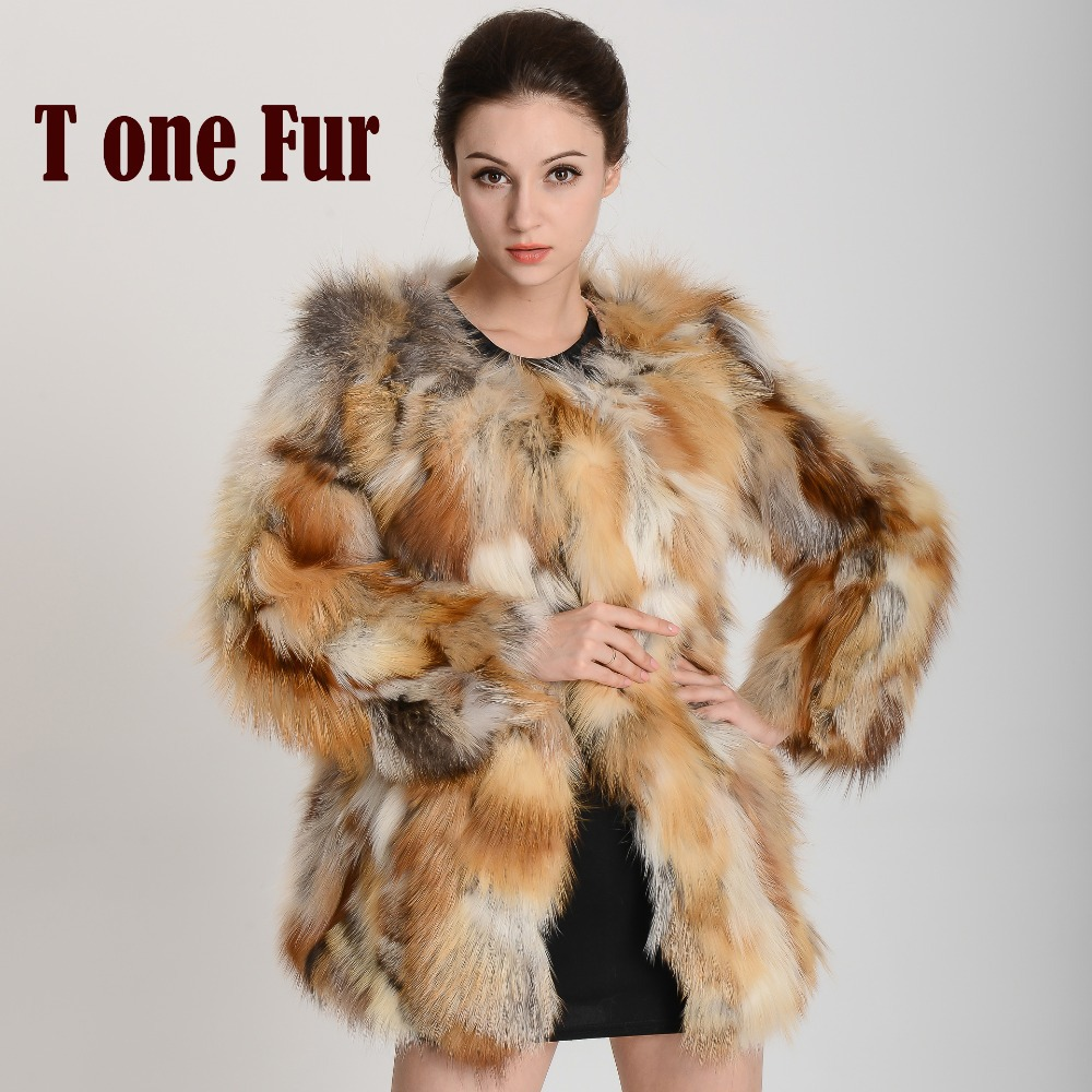 Luxury Real Fox Fur Coat Genuine Good quality top rated Natural Fox Fur Coat Free shipping