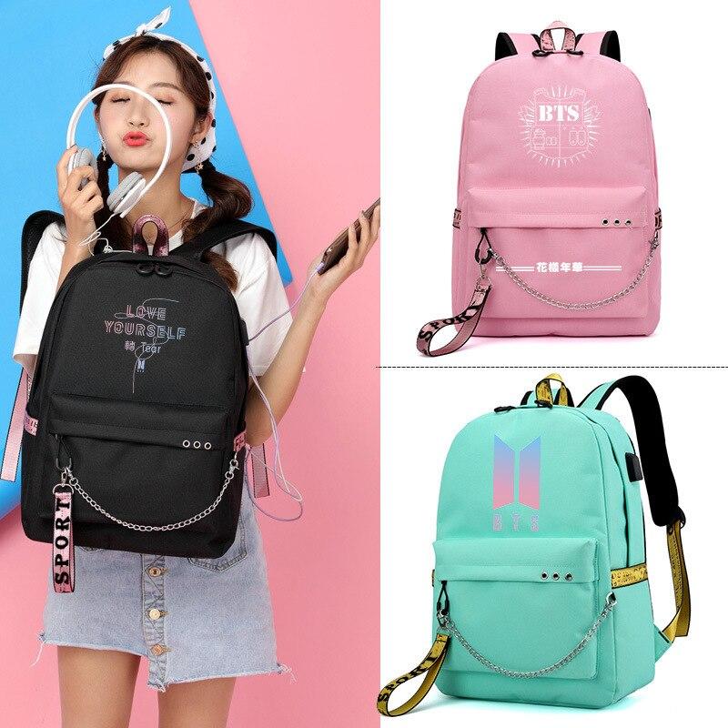Bangtan Boys Korean BTS Printing Backpack USB Interface Laptop Canvas SchoolBag for Teenage Girls Rucksack BTS Fan Gifts BTS Bag bts seoul