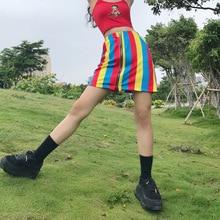 High Waist Zipper Streetwear Rainbow SL01
