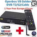 DVB-S2 Openbox V8 Dourado GOTiT/DVB-T2 DVB-C Receptor de satélite Decodificador com 1 anos de Europa cccam Cline 1 USB WI-FI set top caixa