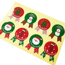 80pcs/lot Red&Green Happy Christmas Medal Seal Stickers For DIY Baking Gift Package Shape Decor Scrapbooking
