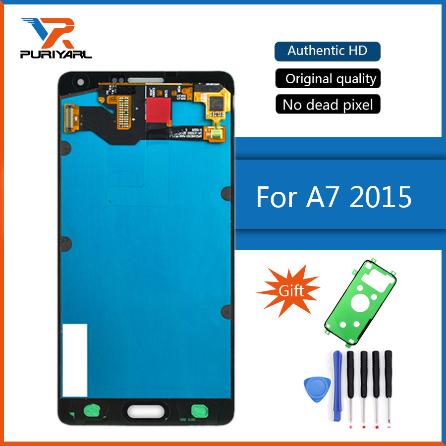 100% Super <font><b>AMOLED</b></font> For Samsung Galaxy A7 2015 A700 A7000 A700H A700F A700FD LCD Display Touch Screen Digitizer Assembly Sticker
