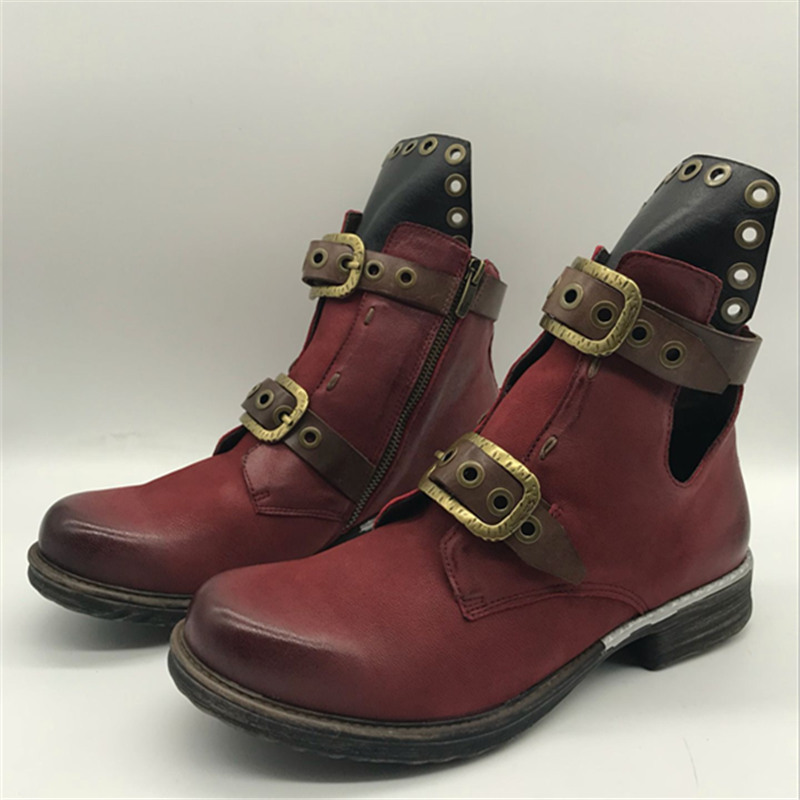 2019 Cremallera Invierno Con In yellow black Auténtico yellow Botines Cortos Mabaiwan Zapatos Remaches Militares Botas Red In De Leather wine Cuero Plush Short Nieve In Hebilla Black Mujer Plush WqwE1Yv0