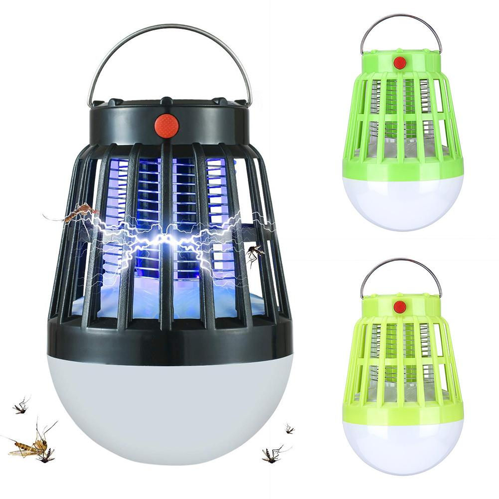 New Solar Powered Anti Mosquito Killer Lamp Bulb USB Electric LED Outdoor Camping Sleepping Lamps Bug Zapper Insect Trap Night L