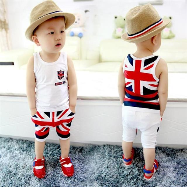 5cee27c23f5e2 US $7.17 7% OFF|Fashion Summer Baby Boys Clothes Sets Kids Sport Suits Flag  Sleeveless T Shirts Baby Clothing Vest + Pants Shorts Singlet-in Clothing  ...
