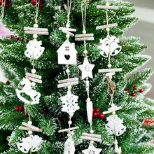 Christmas creative wooden crafts Christmas tree wood bells pendant Christmas snowflake hollow decoration lanyard Dropshipping(China)