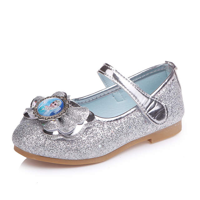 b50c31649d20 Girl Elsa Anna shoe kids Princess Shoes Fashion gold Shoes low heel Evening  party Leather Shoes Anna Queen Casual Sneakers-in Leather Shoes from Mother  ...