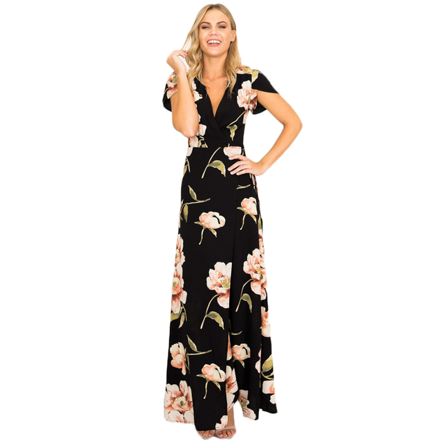 d46950fee321 YJSFG HOUSE Summer Elegant Short Sleeve Long Beach Dress Women Sexy V-neck  Boho Maxi Dress Slim Floral Print Tunic Party Dresses