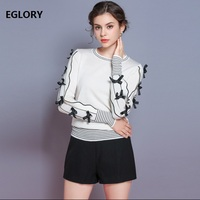 Bow Tie Elegant Long Sleeve Sweaters New Designer Fashion Tops 2018 Autumn Winter Knitwear Women Black White Casual Jumpers