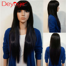 Hot Synthetic Wigs For Black Women Long Straight Heat Resistant Natural Cheap Hair Wig With Bang Pixie Cut Wig 4 Color Available
