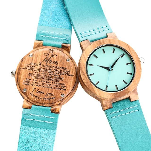 Bamboo Wooden Watch Quartz Analog Couple Watches Leather Band Casual Unisex Lightweight Valentine's Day Gift reloj para pareja 1
