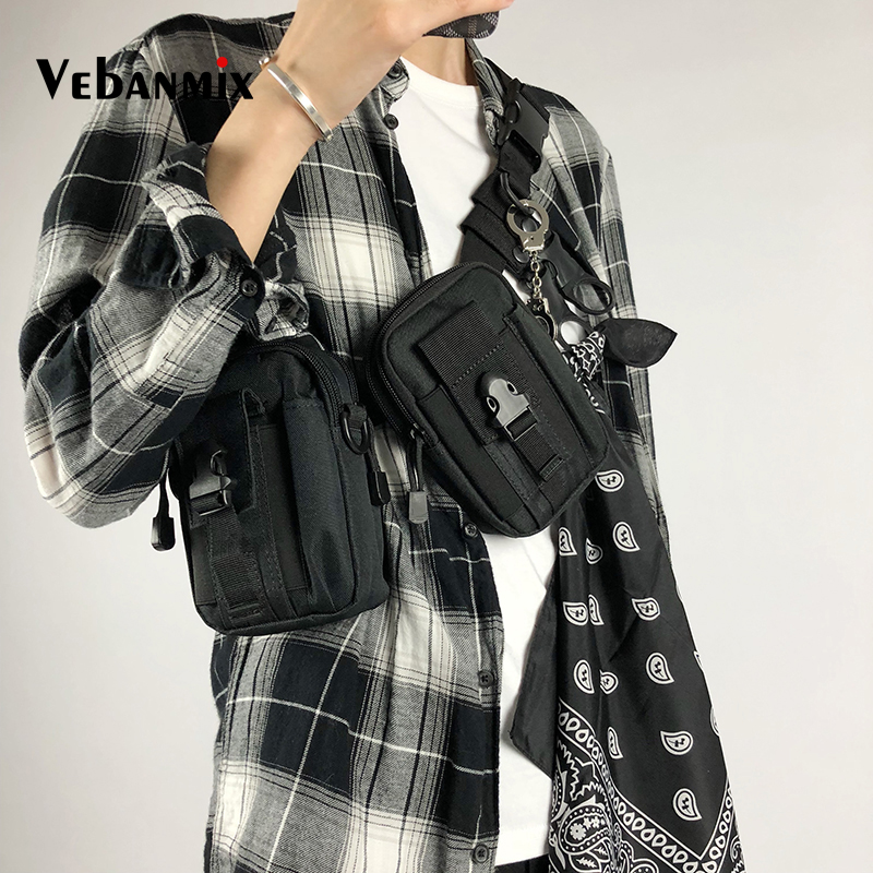 Hip-hop Streetwear Fashion Functional Chest Bag Men Tactical Molle Pouch Belt Waist Pack Bags Travel Phone Belt Bag Fanny Pack
