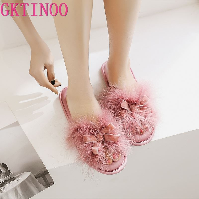 GKTINOO 2019 Comfortable Flip Flops Female Home Shoes Peep Toe Women Slippers Indoor Slides House Warm Women Shoes
