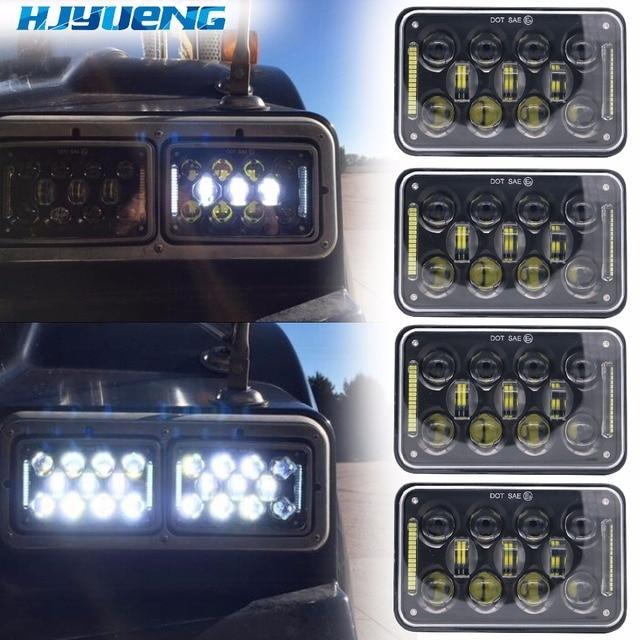 Fjyueng led ضوء العمل 4X6 بوصة مستطيلة 60 واط LED المصباح ل بيتربيلت كينوورث شحن بطانة 12 فولت 24 فولت 5 بوصة H4
