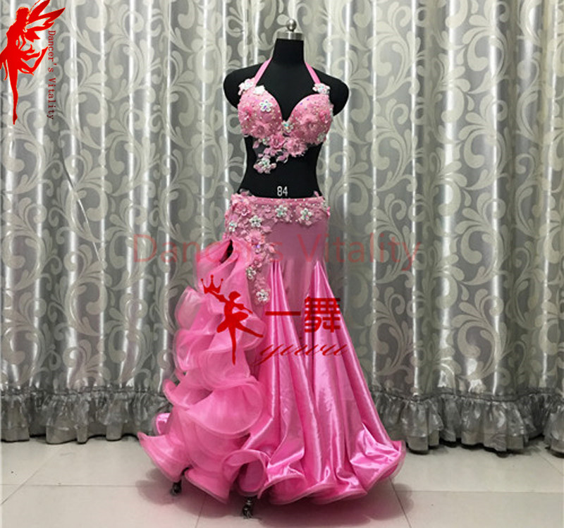Lady Belly Dance Luxury Clothes Flowers Bra Top And Satin Skirt 2pcs Women Performance Clothing Ballroom Dance Costumes B/C Cup