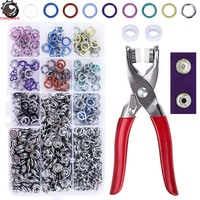 200 Sets Snap Fasteners Tool Kit 9.5mm Metal Grommet Kit Press Studs Snap Buttons Rings with Pliers for DIY Sewing Craft Clothes