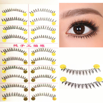 100% Handmade Natural Lower Eyelashes False Eyelashes 10 Pairs Bottom Eyelashes Makeup Tools