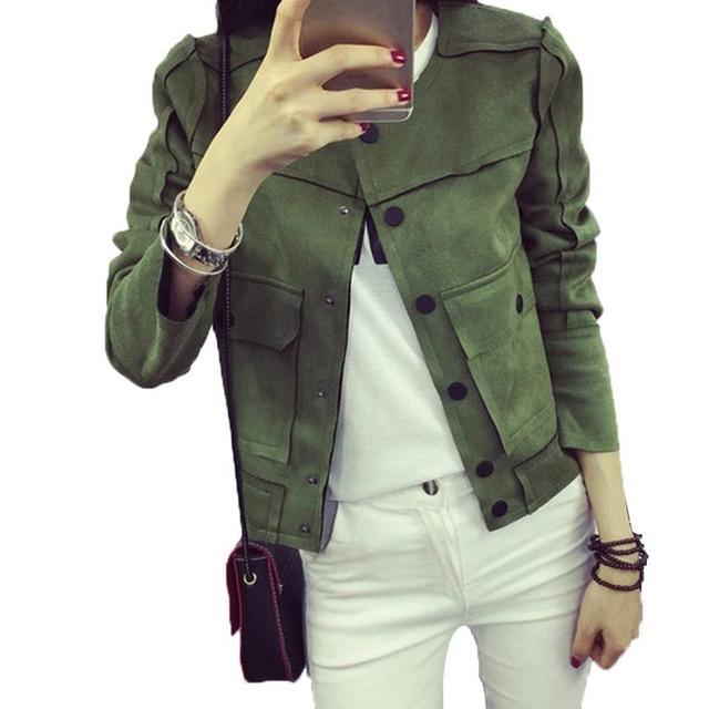 2017 Nova Primavera Retro Patchwork Militar Jaqueta Verde Cor Sólida Moda Casual Suede Casacos Casacos Mulheres Jaqueta Feminina