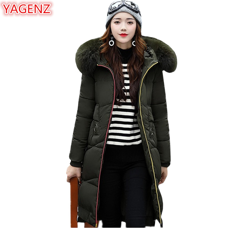 YAGENZ Fashion Women Clothing Cotton Clothing Hooded Coat New Winter Keep Warm Women Long Section Fur Collar Hooded Red Coat 514