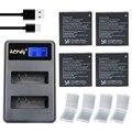 Aopuly 4 unid 1400 mah batería original xiaomi yi 2 4 k az16-1 + LCD USB Cargador Doble Para Xiaoyi Acción Cámara 2 Batería Recargable