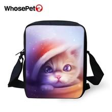 WHOSEPET Women Messenger Bags Cartoon Cats Prints Animal Cross Body Shoulder Lady Mini Flap Postbags Cool Girls School Bag