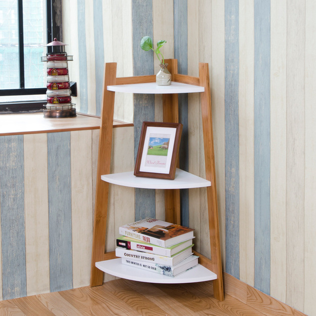 Lanskaya Creative Country Style Furniture White Book Shelves Bookcase Decorative Wall Shelf Three Layer Rack Loft