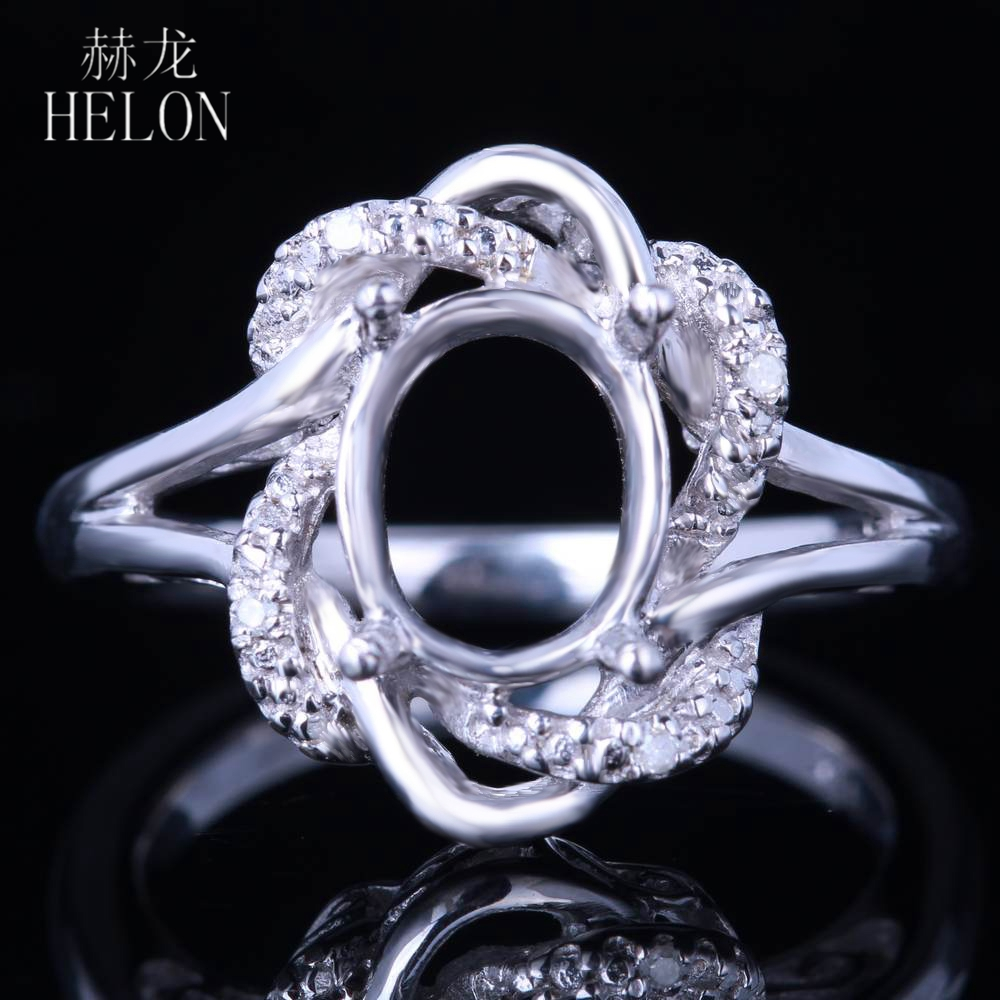 HELON SOLID 14K WHITE GOLD 7x9MM OVAL CUT SEMI-MOUNT PAVE NATURAL DIAMOND RING FINE JEWELRY WOMEN'S ENGAGEMENT WEDDING RING цена