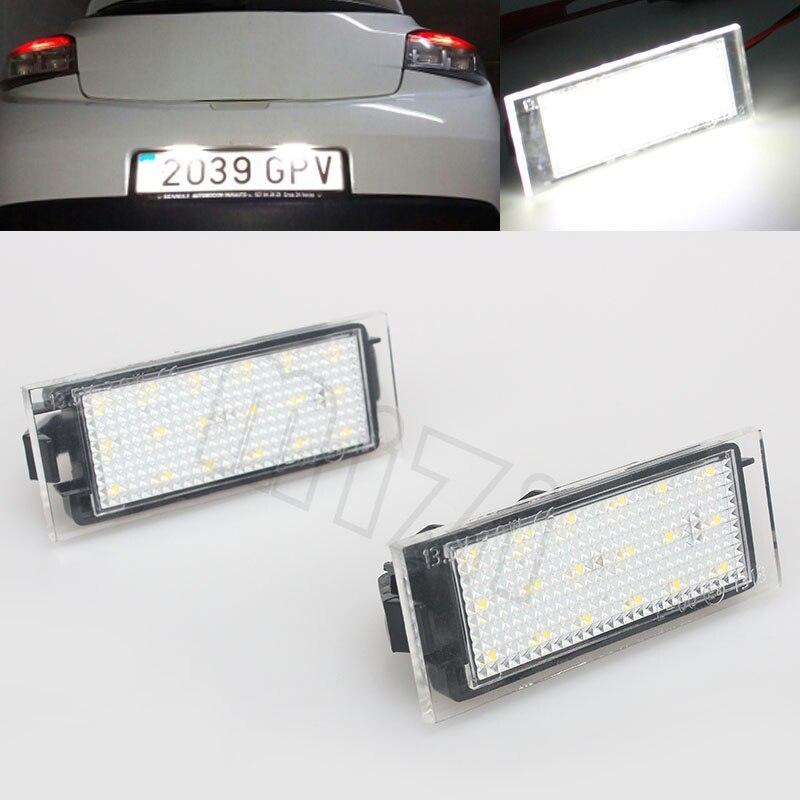 2 Pcs Voiture LED Nombre de Plaque D'immatriculation Lumière SMD3528 Pour Renault Megane 2 Clio Laguna 2 Megane 3 Twingo Maître Vel Satis