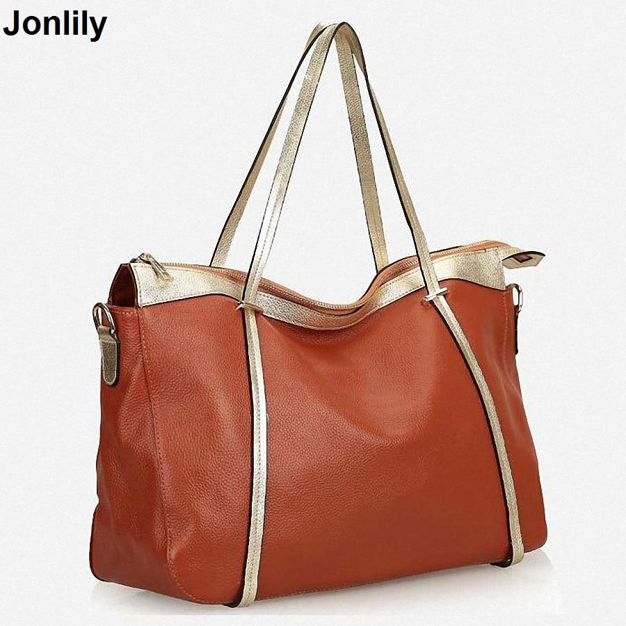 Designer Women Genuine Leather Handbags Large Shoulder Bag Cowhide Ladies Tote Bags Black Red Casual Shopping Bag Bolsos LI-1658 jmd 100% guarantee genuine vintage leather women s tote shoulder bag for shopping 7271c