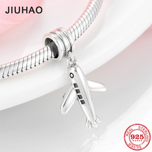New Arrival 925 Sterling Silver Plane Bead Travel Around World Fit Pandora Original Necklace Bracelet beads Jewelry making