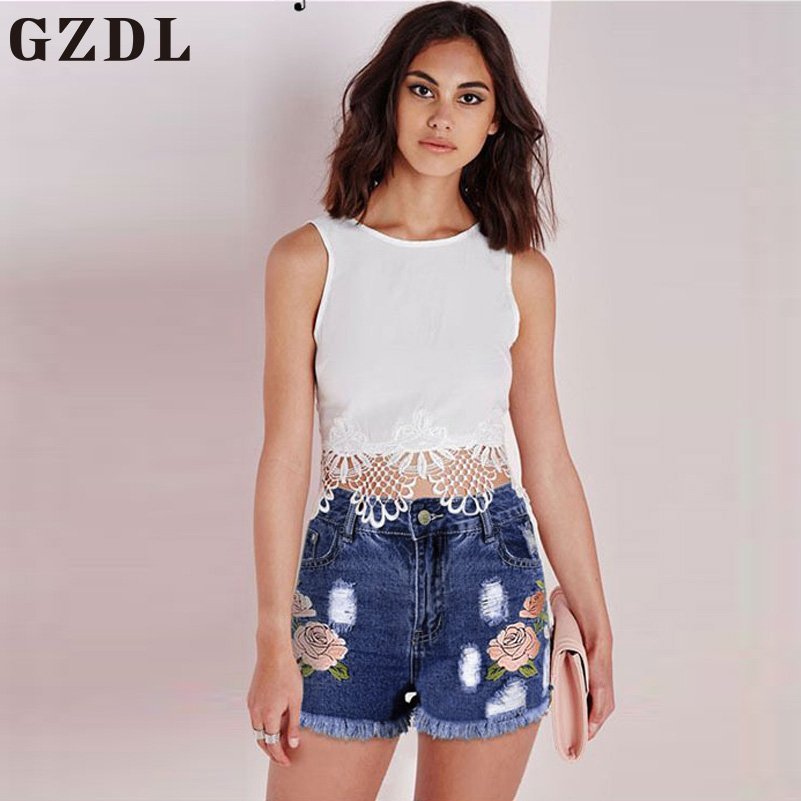 GZDL 2017 Summer Girls Dark Blue High Waist Ripped Floral Jeans Pants Casual Pocket Button Fly Denim Ladies Women Shorts CL3542 denim overalls male suspenders front pockets men s ripped jeans casual hole blue bib jeans boyfriend jeans jumpsuit or04