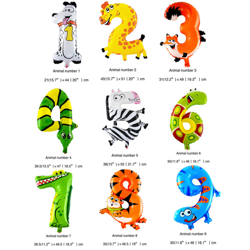 10Pcs/Lot 6 Inches Cartoon Animal Digital Balloons Children's Festival Birthday Party Inflatable Hat Decorative Balloons