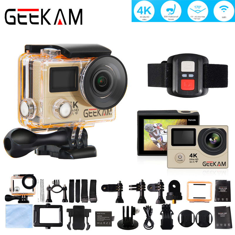 GEEKAM H3R 4k HD Wifi Action Camera Double Screen Video Cam Deportiva Waterproof Case 170 Wide Angle Remote Control Sport Camera in Sports Action Video Camera from Consumer Electronics