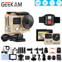 GEEKAM H3R 4k HD Wifi Action Camera Double Screen Video Cam Deportiva Waterproof Case 170 Wide Angle Remote Control Sport Camera