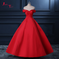 Jark Tozr 100% Real Picture Pearls Sweetheart Neck Short Sleeve Lace Up Red Satin Ball Gown Evening Dresses With Petticoat 2018
