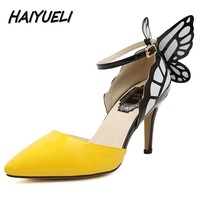 Free Shipping New Fashion Butterfly Dream Buckle Women Pumps Sexy Pointed Wedding Party Nightclub High Heels